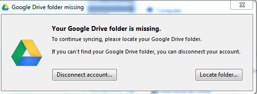 Drive client missing folder warning